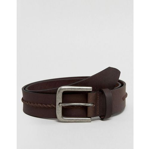 New Look Leather Belt With Weave Detail In Brown - Brown