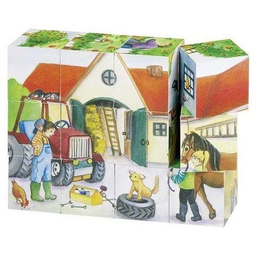 Klocki z obrazkami w drewnianym pudełku, życie na wsi, 12 el. (4013594578325)