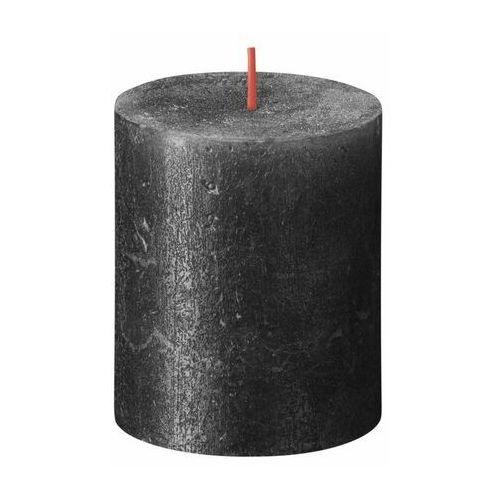 Świeca pieńkowa rustic shimmer antracyt wys. 8 cm marki Bolsius