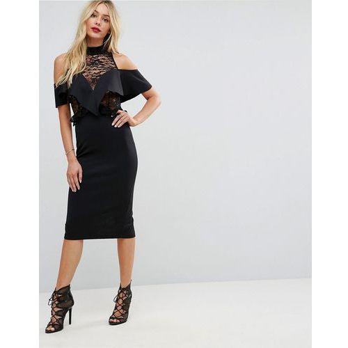 ruffle front sheer lace bodycon midi dress - black, Asos