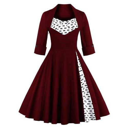 Bowknot Knee Length Dress, kolor czerwony