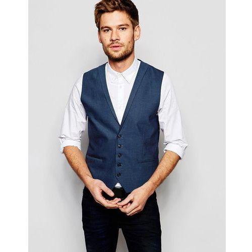 Selected Homme Waistcoat with Lapel in Skinny Fit - Blue, kolor niebieski