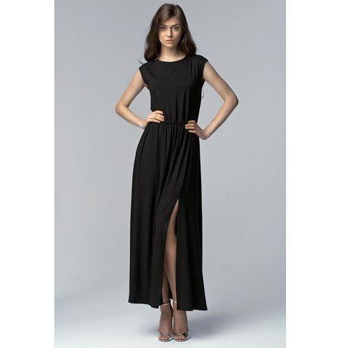 Czarna Efektowna Maxi Sukienka z Długim Rozporkiem
