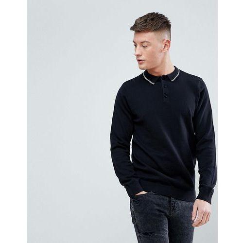 New Look Long Sleeve Polo With Contrast Collar In Black - Black, kolor czarny