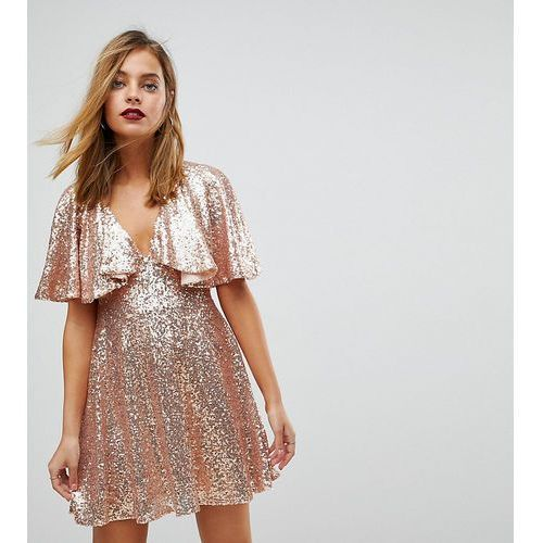 sequin fluted sleeve lace mini dress - pink, Asos petite