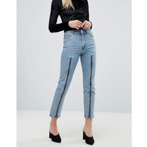 zip front straight leg jeans - blue, Monki