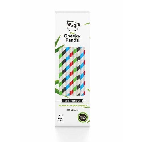 Słomki bambusowe jednorazowe kolorowe paski 100 szt - marki Cheeky panda