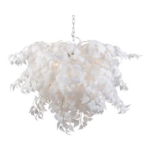 Romantyczna lampa wisząca biała z liśćmi - Feder
