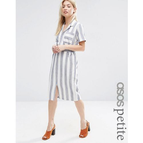 ASOS PETITE Short Sleeve Shirt Dress in Linen Stripe - Navy