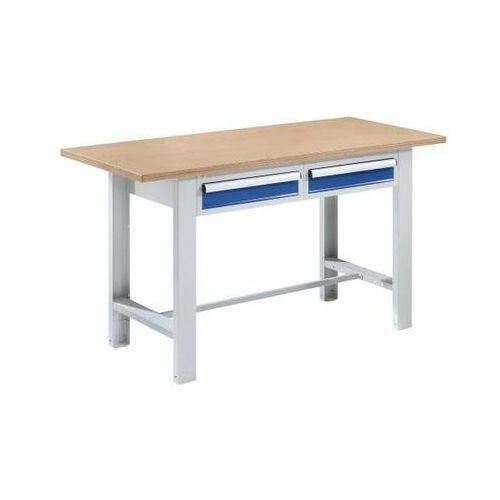 Quipo Stół warsztatowy, szer. blatu 1500 mm, 2 szuflady, płyta z multipleksu. solidne