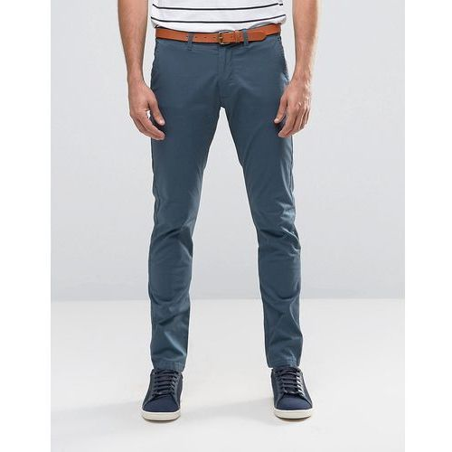 slim fit chino with stretch and leather belt - blue, Selected homme