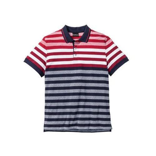Shirt polo w paski regular fit  czerwono-biało-ciemnoniebieski w paski marki Bonprix