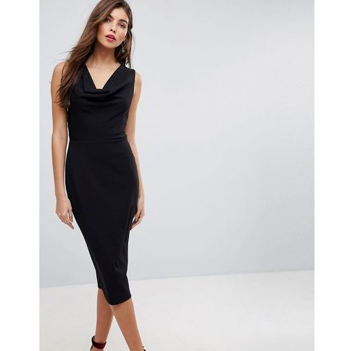 cowl front midi pencil dress with lace back - black, Asos