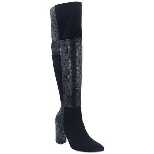 TYMOTEO DS-039/A CZARNE - Kozaki za kolano - Czarny, kolor czarny