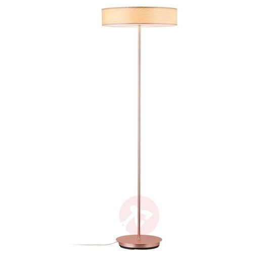Lampa stojąca Liska z drewnianym kloszem