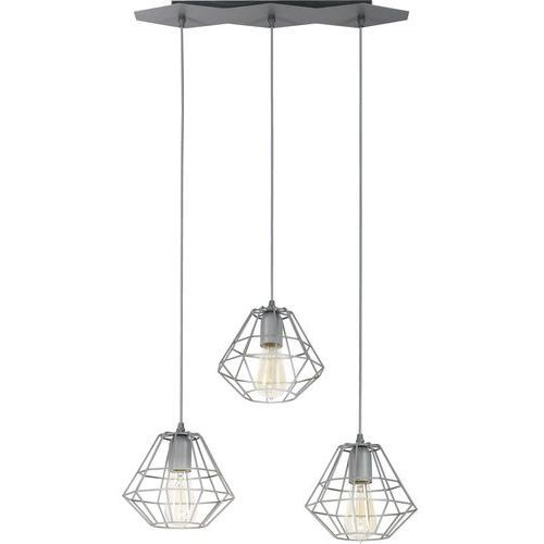 Tklighting Lampa wisząca druciana zwis żyrandol diament tk lighting diamond 3x60w e27 szara 2003 (5901780520038)