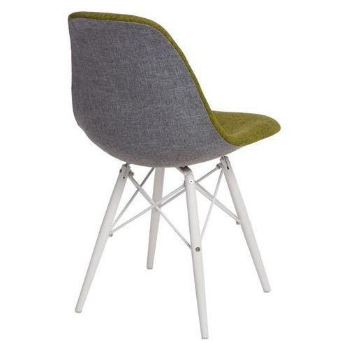 Krzesło p016w duo białe drewniane nogi (zielono-szare) d2 marki D2design