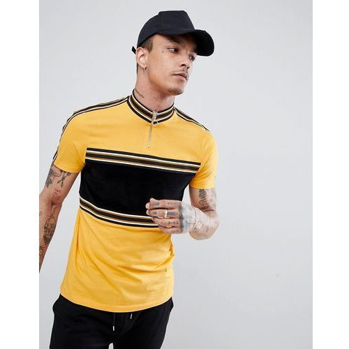 ASOS DESIGN t-shirt with contrast panel in cord and taping in yellow - Yellow, kolor żółty
