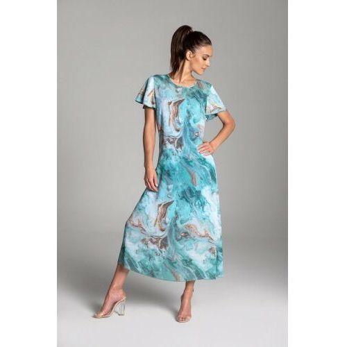 Długa letnia sukienka trapezowa z szyfonu w kolorze turkusowym z krótkim rękawem typu motylek - KOLEKCJA TURKUSOWE MORZE