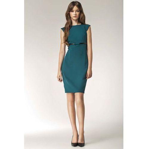 Zielona sukienka koktajlowa z kokardką, Nife, 36-44