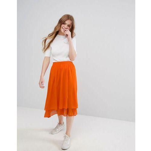 Monki Ruffle Tiered Midi Skirt - Orange, kolor pomarańczowy