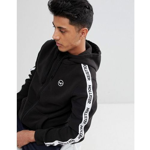 Hollister Athletic Icon Seagull and Logo Taping Fullzip Hoodie in Black - Black