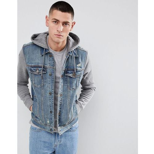 hooded denim jacket with grey sweat sleeves and hood in mid wash - blue, Hollister