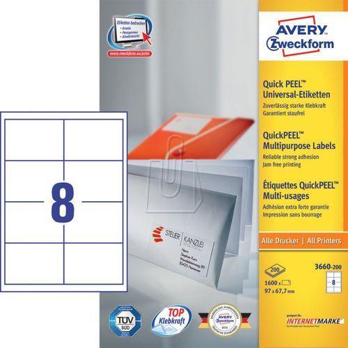 Etykiety uniwersalne  trwałe 97 x 67,7mm 200 ark./op. 3660-200 marki Avery zweckform