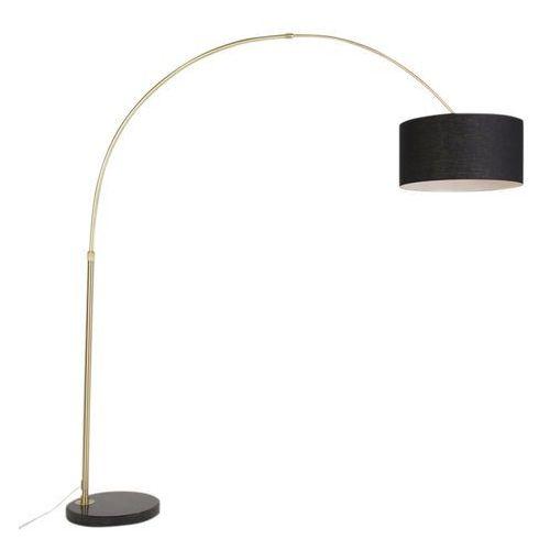 Klasyczna lampa podlogowa luk matowy mosiadz z czarnym kloszem - marbello marki Qazqa