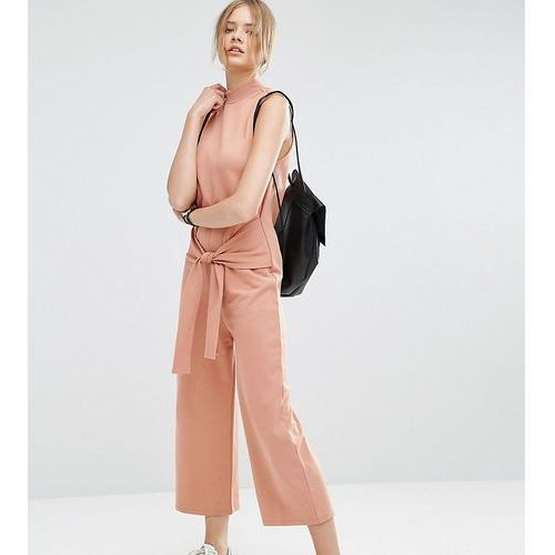 Asos tall  sweat jumpsuit with tie front - pink