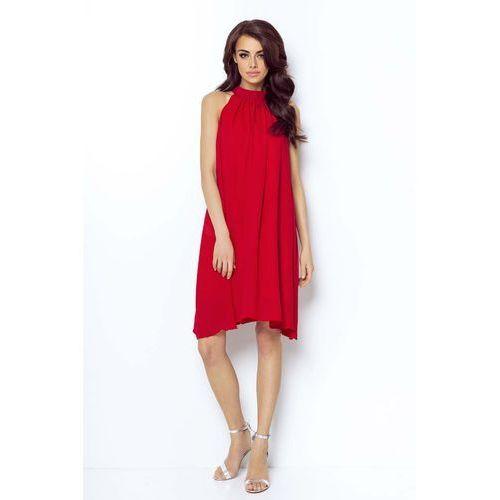 Czerwona Zwiewna Koktajlowa Sukienka z Dekoltem Halter na Stójce, kolor czerwony
