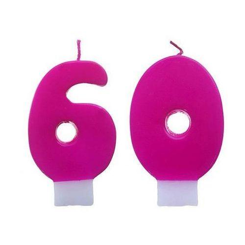 Świeczki cyferki różowe - 60 - sześćdziesiątka - 2 szt.