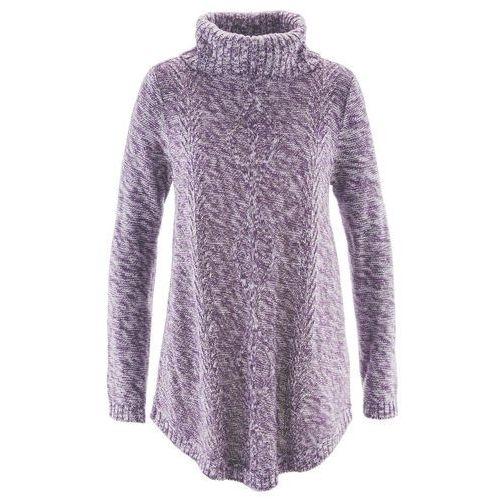 Bonprix Sweter poncho, długi rękaw ciemny lila melanż