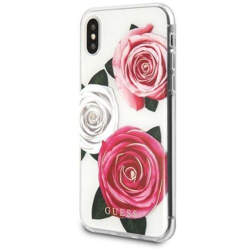 Guess Flower Desire - Etui iPhone X (biały/różowy), GUHCPXROSTRT