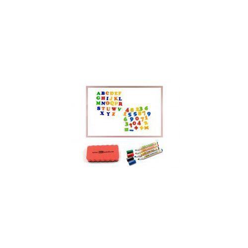 Zestaw - tablica magnetyczna 90x60 rama drewniana różowa + markery + gąbka + magnesy