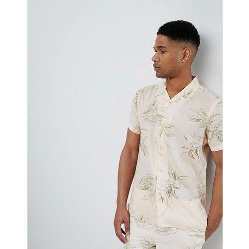 short sleeve revere collar shirt with leaf print - pink marki Bellfield