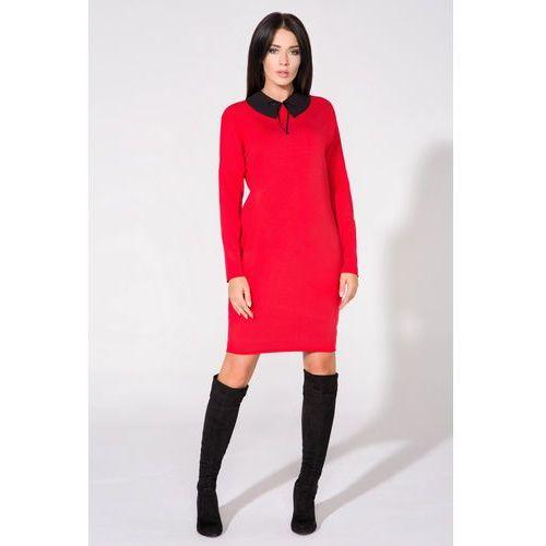 Tessita Czerwona sukienka z dołączonym kołnierzykiem
