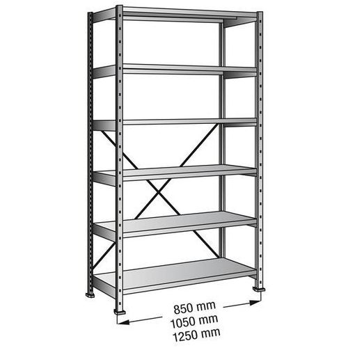 Przemysłowo-magazynowy regał wtykowy, wys. 2280 mm, 6 półek, szer. półki 1200 mm