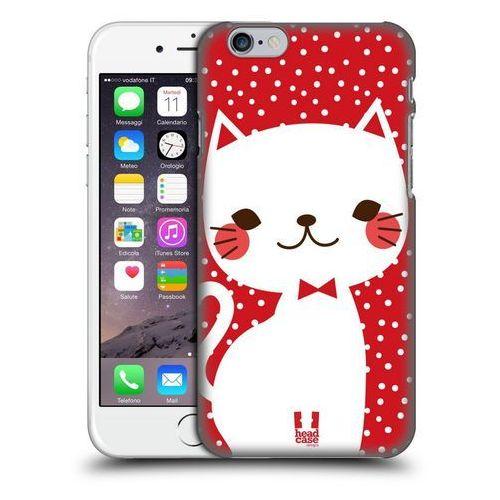 Etui plastikowe na telefon - Cats and Dots White Cat in Red, kolor biały