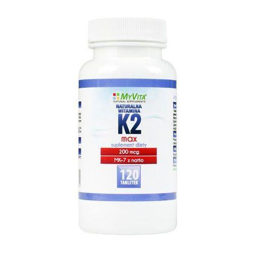 Tabletki Witamina K2 MK-7 K2 MK7 MAX 200mcg z natto K2MK7 120 tabletek MyVita