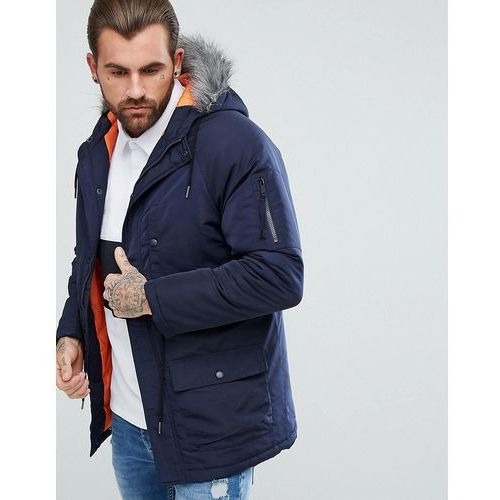 hooded parka jacket with faux fur hood - navy, Another influence