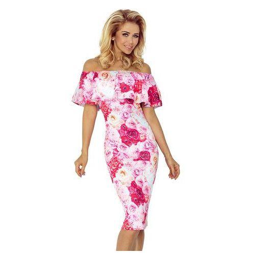 Sukienka w Róże Ołówkowa z Hiszpańskim Dekoltem, ołówkowa