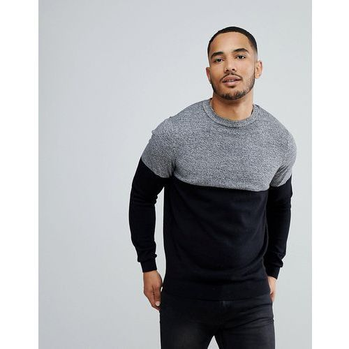 colour block jumper in black and grey - black, New look