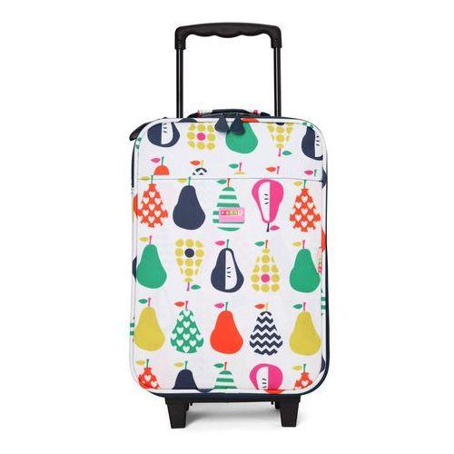 Penny Scallan Design, walizka na kółkach i nóżkach, biało-granatowa w gruszki, towar z kategorii: Walizeczki