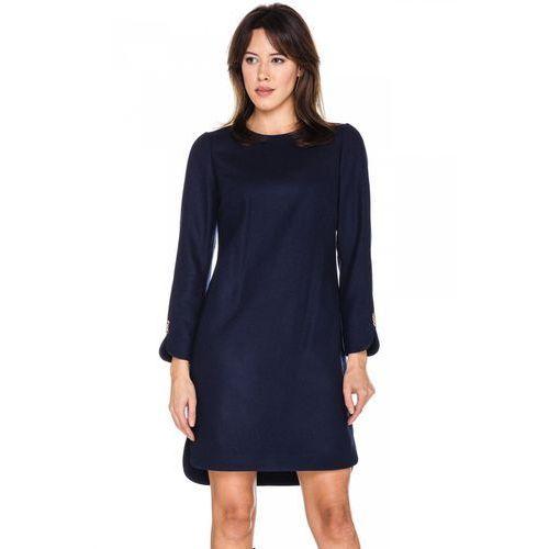 Granatowa sukienka z wełny - L'ame de Femme, kolor niebieski