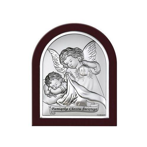 Obrazek Anioł Stróż z napisem w ciemnej oprawie- (BC#6470SWM)