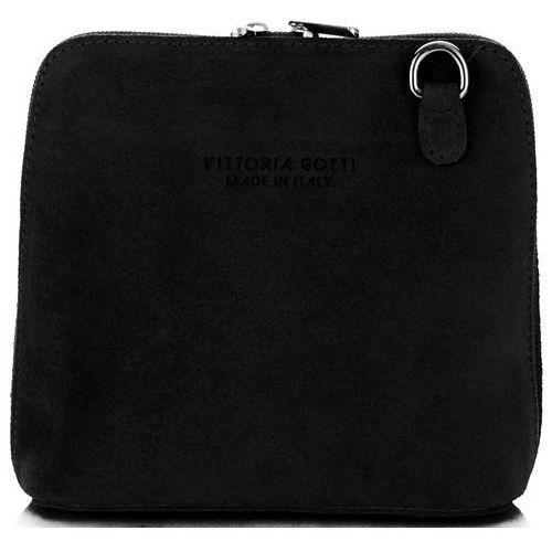 Małe torebki skórzane listonoszki firmy wykonane w całości z zamszu naturalnego czarne (kolory) marki Vittoria gotti