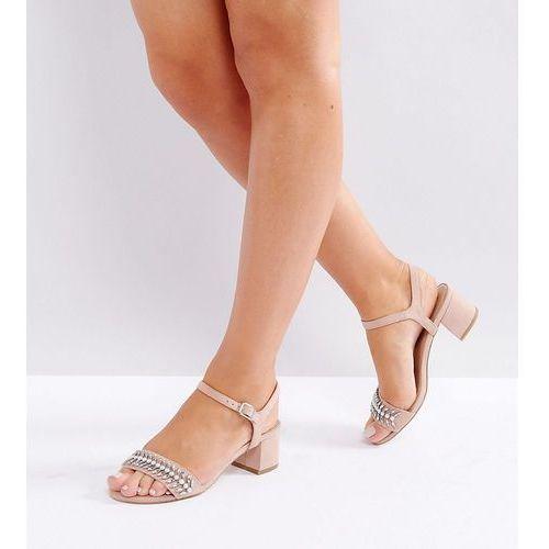 wide fit sparkle embellished block heel sandal - beige marki New look