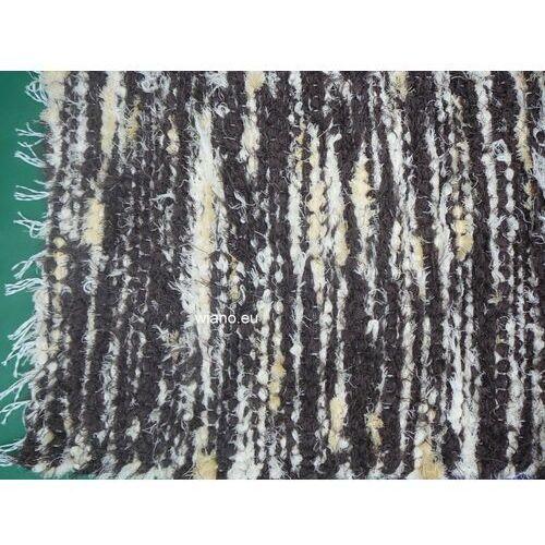 Spółdzielnia twórców ludowych Chodnik bawełniany ręcznie tkany brązowo-ecru z żółtym 50x100 cm (k-14)