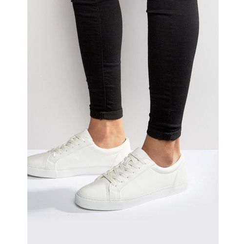ASOS DESIGN vegan friendly lace up trainers in white - White, kolor biały